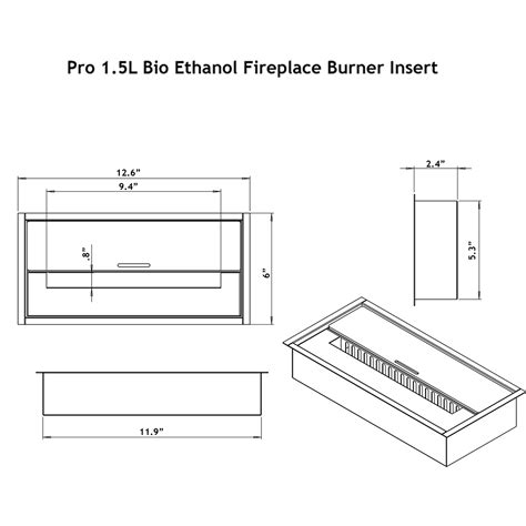 Ethanol Fireplace Burner Insert by Regal Pro 12 Inch Bio Ethanol Fireplace Burner Insert 1 5 Liter