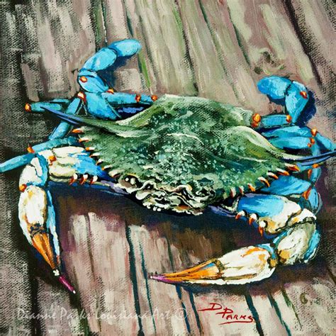 blue new orleans louisiana blue crab on dock new orleans seafood painting