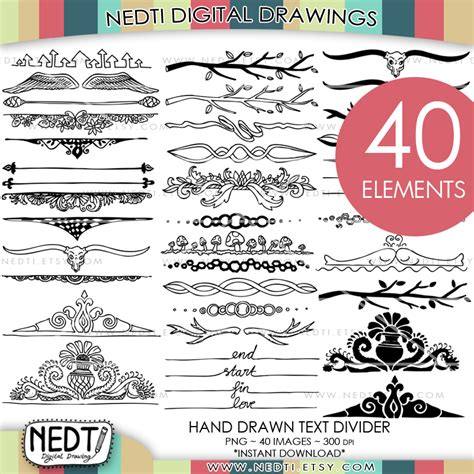 doodle text maker text divider doodle set by nedti by nedti on