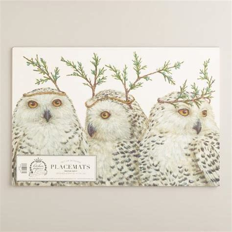 festive owls kitchen papers kraft placemats book world