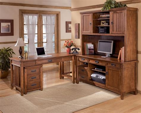cross island traditional brown oak stain wood office