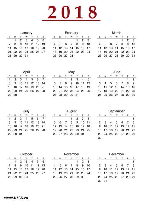 Print Calendar 2018 Free 2018 Calendar Printable Free Free Dzgn