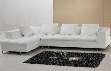 White Sofa Modern White Contemporary L Shaped Leather Sectional Sofa Pillows Tosh Furniture Ebay