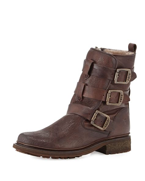 frye valerie shearling boots frye valerie strappy shearling boot in brown lyst
