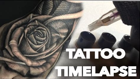 tattoo time lapse realistic rose  hand  skull