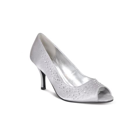 Satin Shoes by Lunar Flv239 Grey Silver Satin Shoe With Diamante Lunar