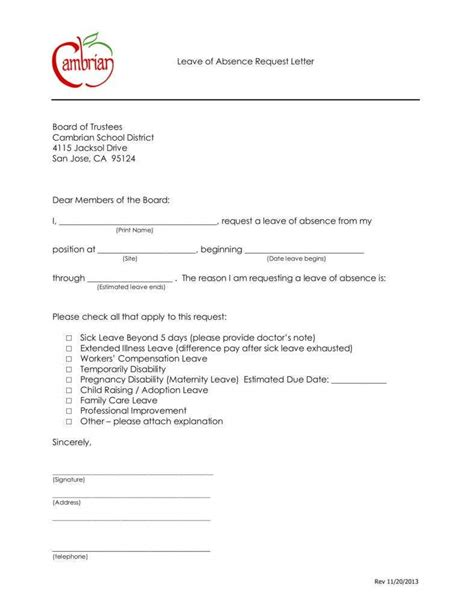 sick leave letter templates word