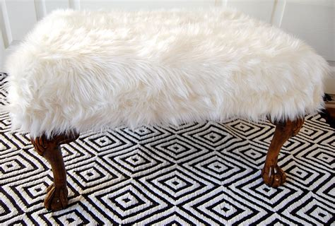 Day 1 Of Slipcover Week Beautiful White Inspiration Fuzzy White Ottoman