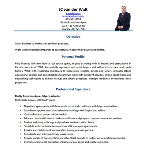 real estate broker resume sle real estate resume 14 free documents