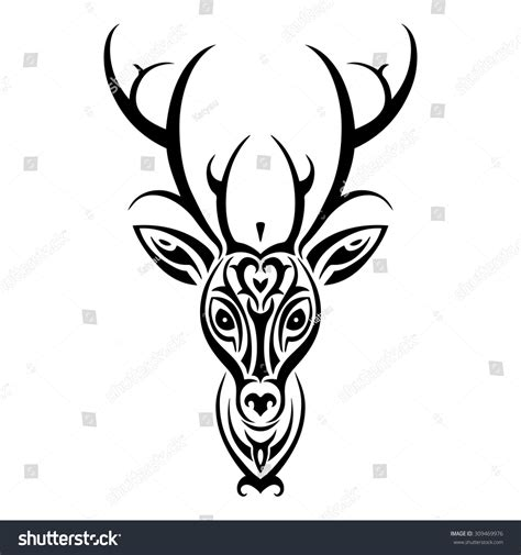 tribal pattern deer deer head tribal pattern polynesian tattoo stock vector