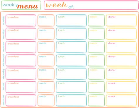 5 best images of printable weekly menu food free