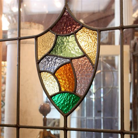 Antique Stained Glass Doors For Sale Magnificent Antique 36 Exterior Door With Leaded Glass And Stained Glass Shield Ned165 For Sale