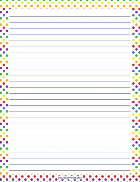 printable paper with lines and borders printable rainbow polka dot stationery and writing paper