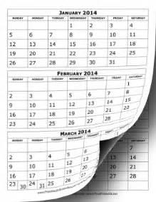 Calendar 6 Months Per Page Printable 2014 Calendar Three Months Per Page