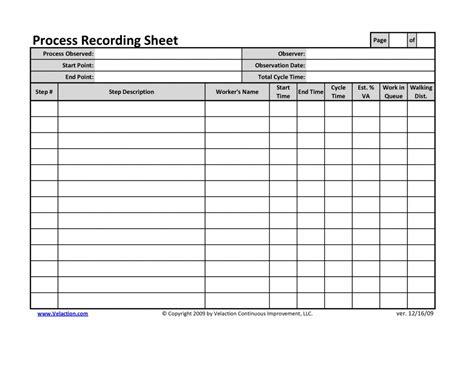 time recording template office process recording sheet
