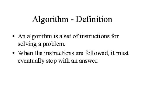 Definition Of A by Algorithm Definition