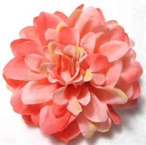 coral colored flowers coral pink dahlia flower hair clip and pin back brooch