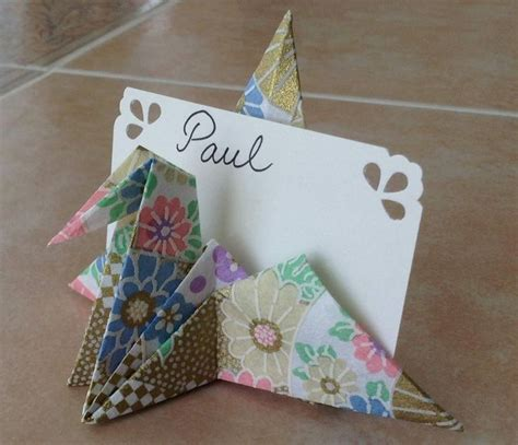 origami crane card paper crane name card holder for our big day