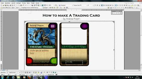 microsoft word trading card template trading card template word template business