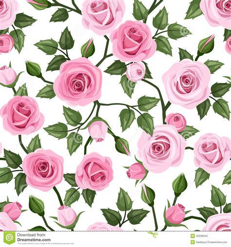pattern pink rose vetor seamless pattern with pink roses vector illustrat stock
