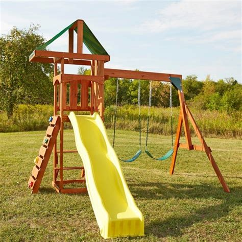 swing with slide swing n slide scrambler wooden play set target