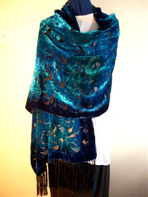 Fashmina Velvet velvet devore scarf shawl blue jade green floral design on black new ebay