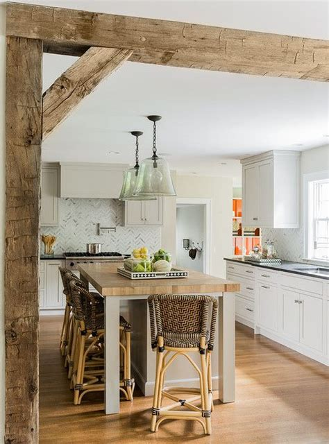 exposed wood beams kitchen white wood rustic modern house pinterest
