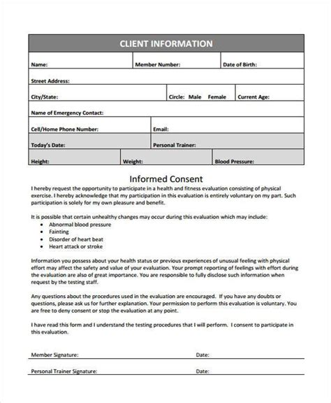 sample fitness evaluation forms   documents  word