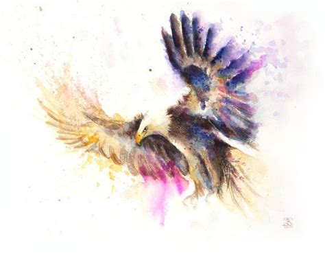 watercolor tattoo eagle flying eagle painting watercolor print color bird by