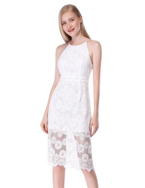 Halter Sleeveless Lace Dress alisapan dress sleeveless halter white lace backless