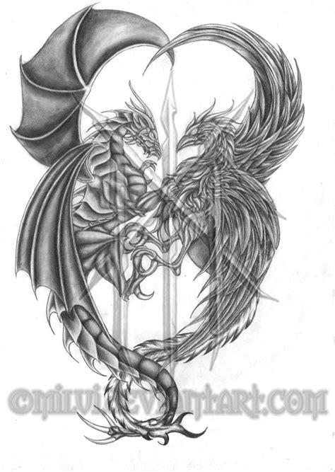 tattoo phoenix vs dragon dragon and phoenix tattoo by milui on deviantart