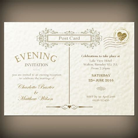 wedding invite postcard style wedding evening invitations envelopes vintage