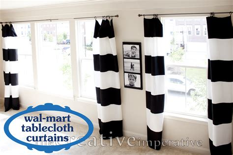 Black And White Striped Curtains The Creative Imperative Black And White Horizontal Striped Curtains Made From Tablecloths