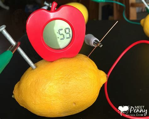 Fruit Powered Clock by Lemon Battery Science Experiment A Green Works Stembox