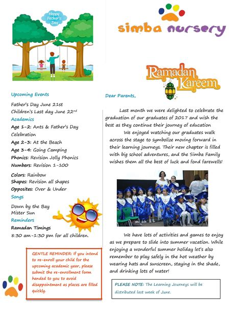 Uwt Mba And Summer News Letter by June 2017 Newsletter Simba Nursery School In Abu Dhabi