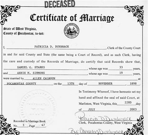 West Virginia Marriage License Records Pocahontas County West Virginia Archives