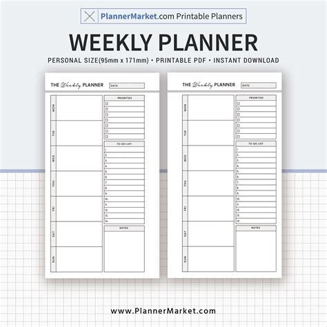 Galerry weekly planner printable pdf 2018