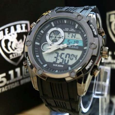 Jam Tangan 5 11 Black Wolf jam tangan 511 tactical beast dualtime rubber new