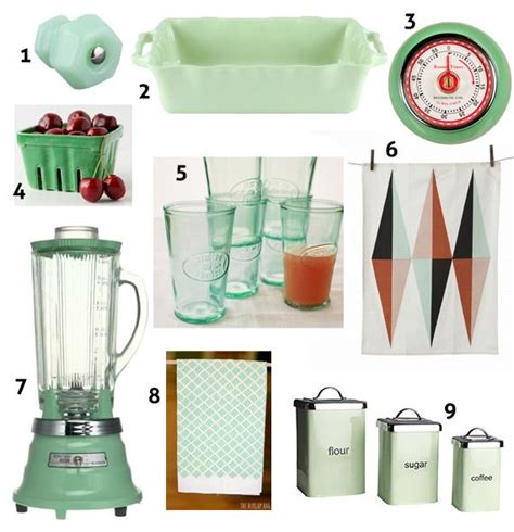 mint green retro kitchen accessories for the home