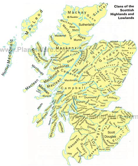 map of scotland and map of clans of the scottish highlands and lowlands