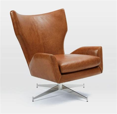 west elm armchair 1960s style hemming leather swivel armchair at west elm