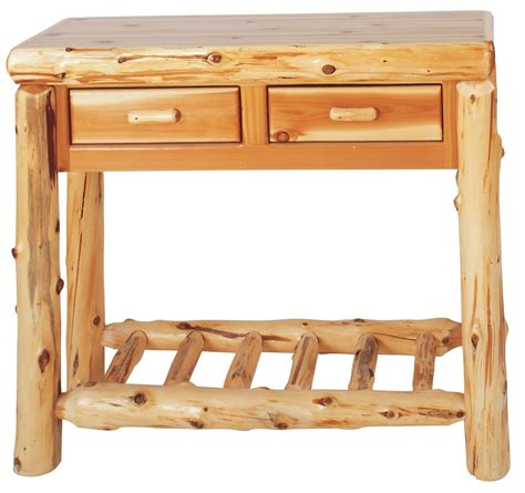 cedar 2 drawers sofa table from fireside lodge 14140