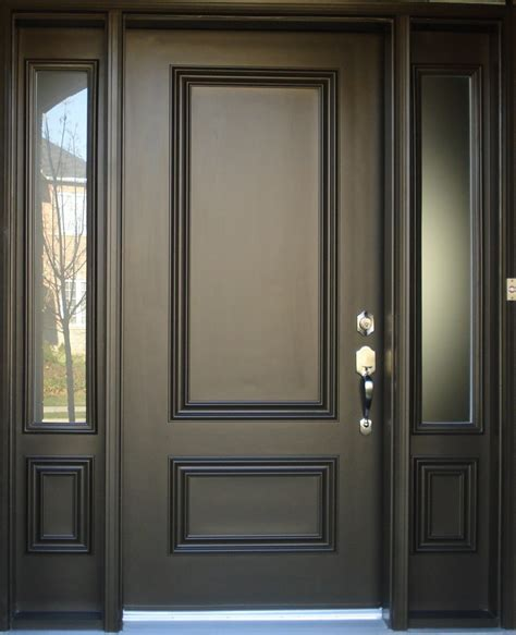 Exterior Door Panel Brown Painted Color Best Solid Wood Exterior Door With Narrow Frosted Glass Window Panels Ideas