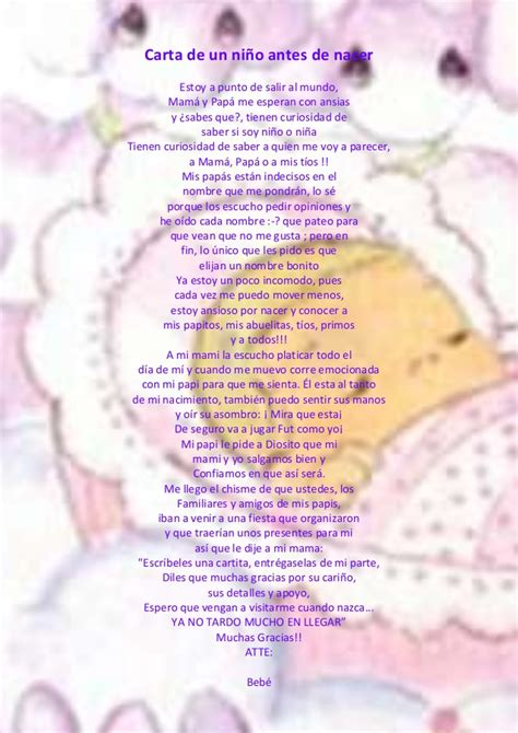 Carta Para Pap Antes De Nacer | carta de un ni 241 o antes de nacer