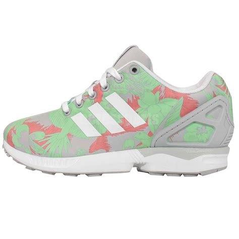 adidas originals zx flux w grey green floral print womens sneakers running shoes ebay