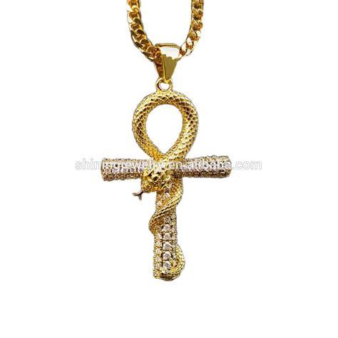 14k Yellow Gold Cross Charm 14k yellow gold cross 3d snake ankh cross charm pendant