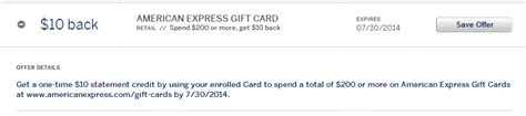 Www Americanexpress Com Gift Cards - amex offer buy 200 american express gift cards receive 10 statement credit