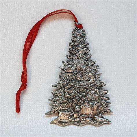vintage esl pewter christmas tree ornament 1992
