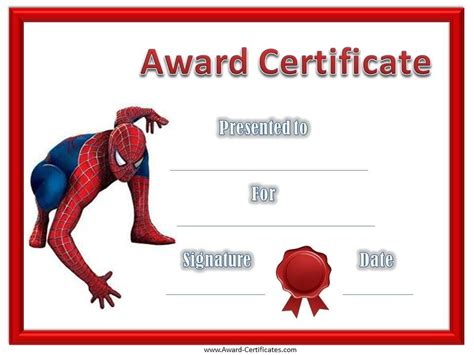 Superhero Borders Template Give Your Children Or Students A Spiderman Award Certificate To Children S Product Certificate Template