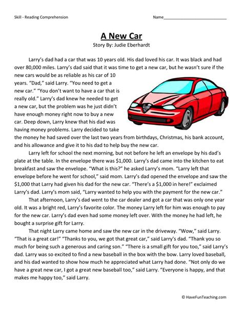 car questions and answers free reading comprehension worksheet a new car